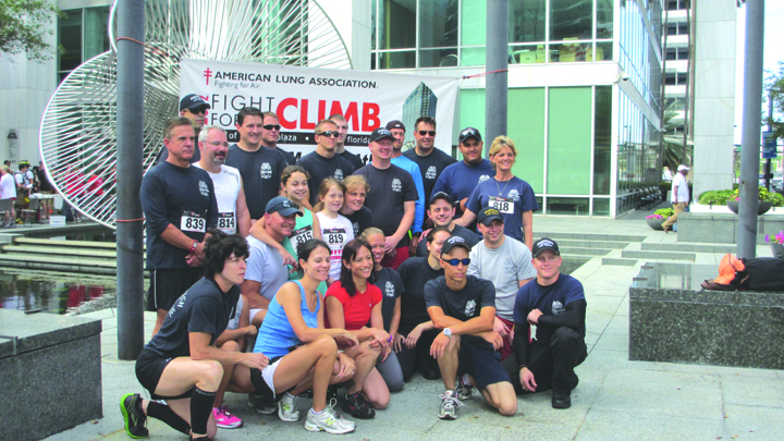 Fire Fighters Participate In 'Fight For Air' Climb To Support Charity