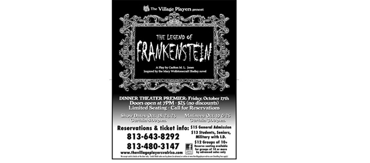 The Village Players To Present The Legend Of Frankenstein And Costume Party
