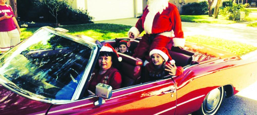 HOA_Santa on Cadillac in Santa Claus Parade