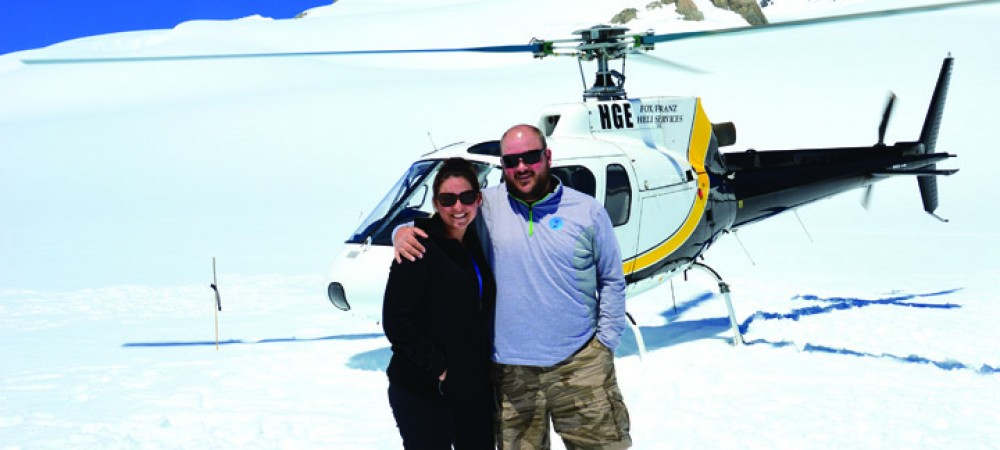 TRAVEL_Jennifer and Brock Mikosky on top of the Franz Josef Glacier in New Zealand