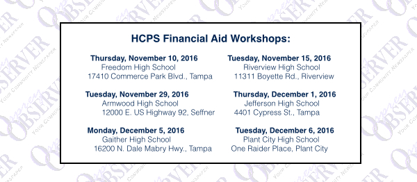Chalklines: Armwood, Plant City, Riverview High Schools to Host District Financial Aid Night